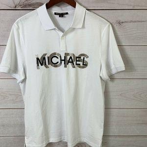 Michael Kors MK Logo Polo Shirt Men's White Sz M